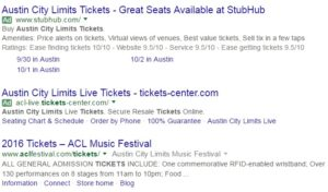 "Note the green ""Ad"" in the PPC box for the search term, ""Austin City Limits Tickets""."